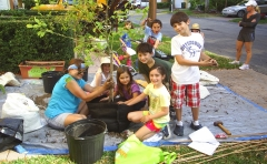 Replanting a tree with kids!