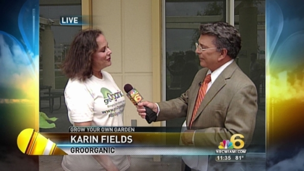 Photo of Karin being interviewed by NBC 6 Miami